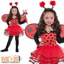 Ballerina Ladybird + Wings Girls Animal Fancy Dress Kids Lady Bug Childs Costume