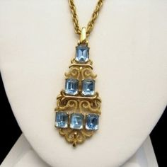 Beautiful CROWN TRIFARI Vintage Necklace Large Scroll Pendant Blue Step Cut Glass Stones