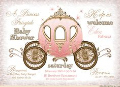 This pink & gold baby shower invitation uses a princess fairytale coach with lots of fairy dust to welcome your baby girl in royal style! We can personalize the colors, wording, graphics & text to match your own celebration & baby's nursery.