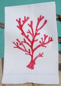 Red Coral on White Linen Hemstitched Guest Towel