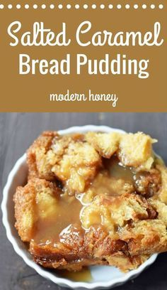 Salted Caramel Bread Pudding is a decadent dessert made with brioche or challah . - Salted Caramel Bread Pudding is a decadent dessert made with brioche or challah bread, half-n-half, - Best Bread Pudding Recipe, Caramel Bread Pudding, Brioche Bread Pudding, Custard Pudding, Easy Bread Pudding, Pudding Cake, Bread Pudding Sauce, Croissant Bread, Banana Pudding