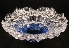 LARGE TAUNO WIRKKALA STYLE HUMPPILA FINLAND GLASS BOWL BLUE NORTHERN LIGHTS in Pottery & Glass, Glass, Art Glass | eBay