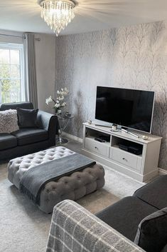Take a look at how this customer has styled the I Love Wallpaper Shimmer Tree Wallpaper in Soft Grey Silver in her Living Area To shop this design visit homeinterior LivingRoom Livingroomgoals wallpaper Living Room Ideas Uk, Classy Living Room, Living Room Decor Cozy, Living Room Goals, Living Room Inspiration, Interior Design Living Room, Living Room Designs, Grey Room Decor, Silver Living Room