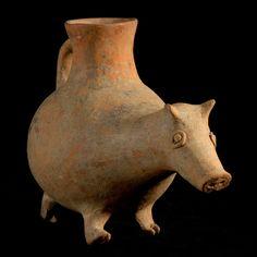 Terracotta Aquamanile with Zoomorphic Spout - LO.923 Origin: North-western Iran Circa: 1200 BC to 800 BC Barakat Collection: Central Asia Medium: Earthenware