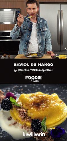 Raviol de Mango y Queso Mascarpone Dessert Recipes, Desserts, Kiwi, Bread Recipes, Pasta, Tapas, Catering, Good Food, Food And Drink