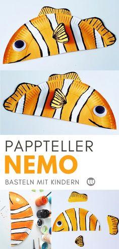 Nemo aus Papptellern: Sommerdeko basteln mit Kindern #Sommer #Nemo #Fisch #Unterwasserwelt #Ozean #Aquarium #Meerestiere #Fische #DIY #Wanddeko #Pappteller #basteln #Deko #Kindergarten #KITA #Kunst #einfach #Bastelanleitung #PaperPlate #kidscraft #upcycling #Sommerdeko