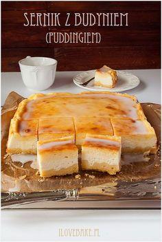 SERNIK Z BUDYNIEM (DREZDEŃSKI) ilovebake.pl #cheesecake #pudding