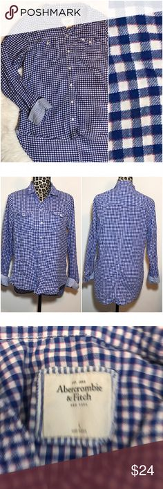 """🔸SALE🔸Abercrombie gingham plaid long flannel This flannel is so cute!  Blue, white, and pink. No flaws to note. Longer in back. Length 25"""" front, 31"""" back. 20.5"""" bust. Check out the TOP of my Closet for Current SALES! Abercrombie & Fitch Tops Button Down Shirts"""