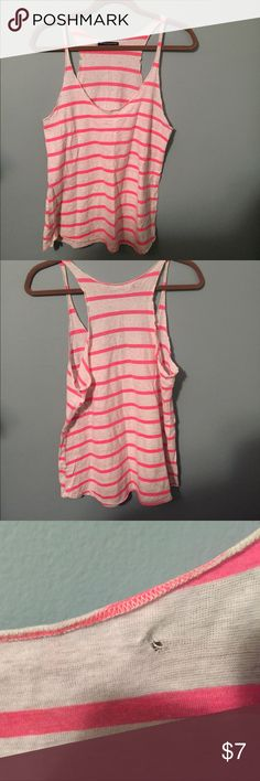Brandy Melville pink striped tank Super light Cotten tank. One tiny hole on upper back where tag is shown in third pic  White with pink stripes. Brandy Melville Tops Tank Tops