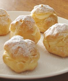 cream puffs: rich, but easy and decadent. preheat oven to 450. in a saucepan, bring 1/2cup butter 1cup water to a boil. reduce heat to low, add 1cup flour and 2dashes salt. stir with wooden spoon until you have a ball of dough. add 4 eggs, one at a time. place 1-2 balls of dough on greased baking sheet. bake for 8-12 mins until golden. when cooled, slice open top and fill with vanilla pudding or pastry cream. also makes great eclairs. pastry made simple! : FlavorCatalog