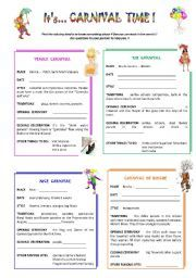 English worksheet: It´s carnival time ! ( 3 pages )