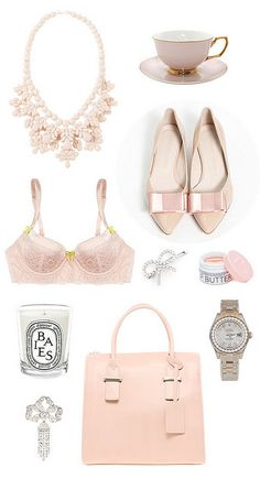 loving all of these pale pink, blush accessories. My favorite color:) Estilo Fashion, Look Fashion, Womens Fashion, Nail Fashion, Fashion Shoes, Just Girly Things, Pink Things, Pink Love, Pretty In Pink