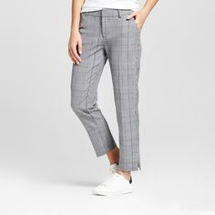 Women's Slim Fit Straight Leg Plaid Ankle Pants - A New Day Gray