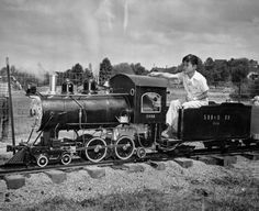 Clifford Duncan on the Green Lake Railroad. July 24, 1947.