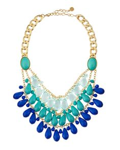 Turquoise-Blue Teardrop Bib Necklace