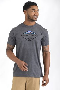 Patagonia Short Sleeve Fitz Roy Crest Grey Tee | South Moon Under