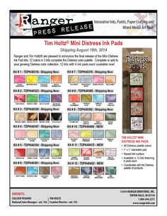 More Distress Ink Minis!  Distress Minis PR August 2014