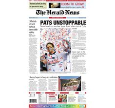 The front page of The Herald News for Monday, Jan. 19, 2015.