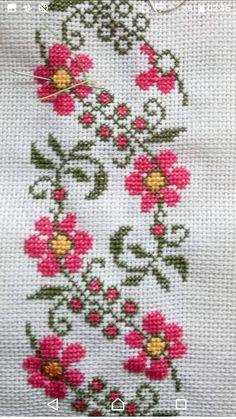 Butterfly Cross Stitch, Cross Stitch Rose, Cross Stitch Borders, Cross Stitch Flowers, Cross Stitch Charts, Cross Stitch Designs, Cross Stitch Patterns, Hand Embroidery Flowers, Needlework