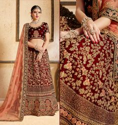 Productis delivered Unstitched (Semi-Stitched)It can be custom-stitched upto Size 42 inches Work Type:Zari, Resham Embroidery, Stones Work Blouse Color:       Maroon LehengaColor:     Maroon Dupatta Color:      Peach Blouse Fabric:      Velvet LehengaFabric:    Velvet Dupatta Fabr Bridal Lehenga Online, Designer Bridal Lehenga, Indian Bridal Lehenga, Salwar Designs, Lehenga Designs, Dress Designs, Bollywood Lehenga, Sabyasachi, Bollywood Style