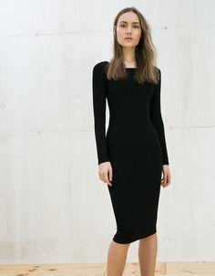 Vestido canelado manga comprida - Vestidos - Bershka Portugal
