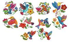 Jacobean Birds Applique Machine Embroidery Designs | Designs by JuJu