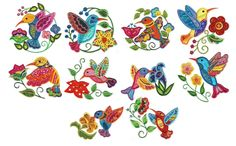 Jacobean Birds Applique Machine Embroidery Designs | Designs by JuJu