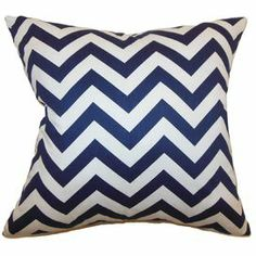 "Cotton pillow with a chevron motif and down fill. Made in the USA.    Product: PillowConstruction Material: Cotton cover and  down fillColor: Blue and whiteFeatures:  Insert includedHidden zipper closureMade in the USA Dimensions: 18"" x 18""Cleaning and Care: Spot clean"