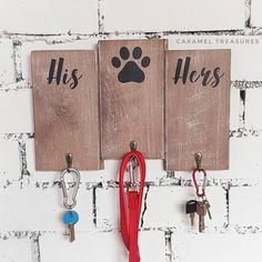 Rustic His Hers dog wall key and lead holder, key and lead rack, gift for him for dog owners, wooden key hanger for wall, housewarming gift for couples. Gifts For Dog Owners, Dog Lover Gifts, Dog Gifts, Wooden Key Holder, Wooden Organizer, Key Hanger For Wall, Key Hangers, Housewarming Gifts For Couples, Housewarming Invitations