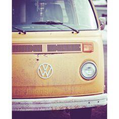 vintage volkswagen bus photograph / van, retro, mustard yellow, car, transportation, hippie / vw / 8x10 fine art photograph. $28.00, via Etsy.