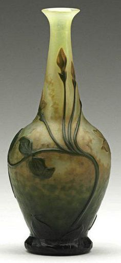 glass, France, A Daum Nancy glass wheel-carved cameo glass bud vase [with leaves], Nancy, France, 1900s. Etched Daum Nancy.