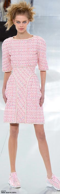 Chanel is GIVING ME LIFE with this adorable pink!!!!!  Chanel Spring 2014 Couture http://www.vogue.com/fashion-week/