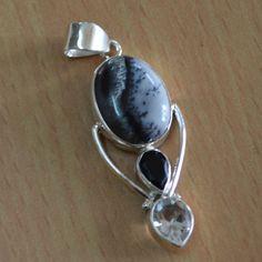 Summer offer:Get 25% discount Coupon-SUM15 Last day Dendrite opal & Black OnyxWhite Quartz Gemstone by DevmuktiJewels