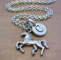 Horse charm necklace personalized with an initial - very attractive. Several choices for chain length, all $16.