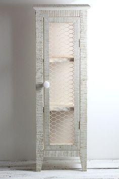 Wood Cabinet Shelf Rustic Country Primitve Chicken Wire Storage A cabinet for the Keurig