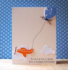 Airplane Birthday Card by Cristina Kowalczyk for Papertrey Ink (July 2013)