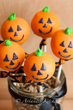 Halloween Cake Pops - Art and the Kitchen -these Halloween Cake Pops decorated like a Jack O'Lantern make a  great treat to bake up for your Halloween Party. They also make a great homemade treat for those special  Trick or Treaters.