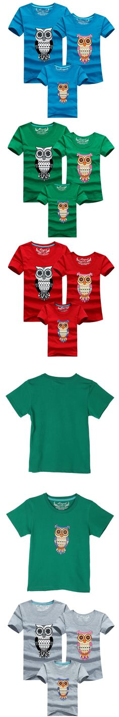 Qianquhui Family Clothing Owl Printed Dad Mum Girls Boys Short Sleeve T Shirt Tops Family Matching Clothes