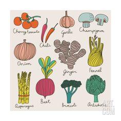 Tasty vegetables in bright set - cherry tomato, chili, garlic, champignon… Vegetable Illustration, Botanical Illustration, Illustration Art, Logo Dulce, Vegetable Drawing, Vegetable Prints, Garden Drawing, Fruit Art, Grafik Design