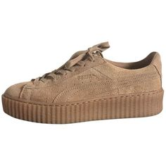 Trainers PUMA (195 CHF) ❤ liked on Polyvore featuring shoes, sneakers, puma, clothes - shoes, suede sneakers, beige suede shoes, creeper sneakers, creeper shoes and camel shoes