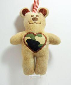 Teddy Bear Camo Heart Rattle Tag Toy by LemonDropKids on Etsy