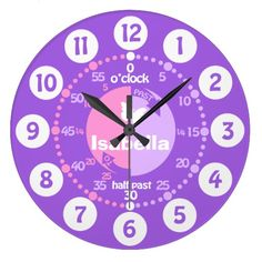 Girls learn to tell time educational pink purple name clock makes a great gift for Christmas. Designed by www.sarahtrett.com