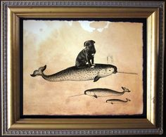 Black Pug Riding Narwhal- Vintage Collage Art Print on Tea Stained Paper - Vintage Art Print - Vintage Paper by TeaStainedMadness on Etsy