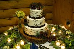 wooded cake table decor