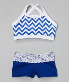 Look what I found on #zulily! Blue & White Zigzag Sports Bra & Shorts - Girls by Elliewear #zulilyfinds
