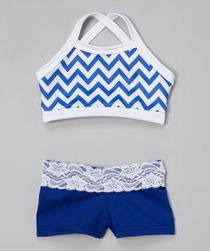 Look what I found on #zulily! Blue & White Zigzag Sports Bra & Shorts - Girls by Elliewear #zulilyfinds