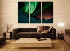 Northern Lights Aurora Borealis Print 3 Panels Print Wall Decor Fine Art Nature Photography Repro Print for Home and Office Wall Decoration by ZellartCo TAGS northern lights aurora aurora borealis night sky photo winter photography aurora wall print nature photography north winter night photography fine art mouontains living room decor
