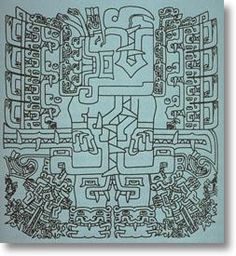 Chavin de Huantar - Google Search. My note: Seeing this complex drawing with my admittedly uneducated eye, I am amazed at the artistry, but also reminded of some of my engineer husband's technical drawings.