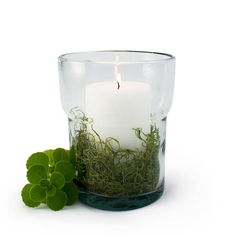 Recycled Glass Candle Pot Clear $13