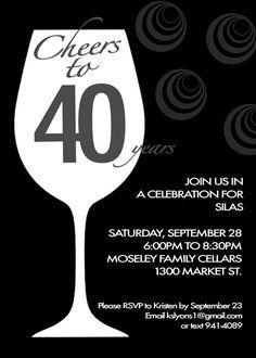 40th Birthday Invitation on Etsy, $14.00